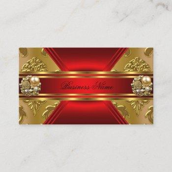 elegant business red gold damask jewel business card