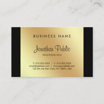 elegant calligraphy script glamour black gold luxe business card
