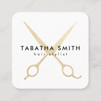 elegant chic gold foil scissors hair stylist salon square business card
