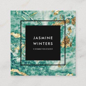 elegant chic gold foil turquoise marble watercolor square business card