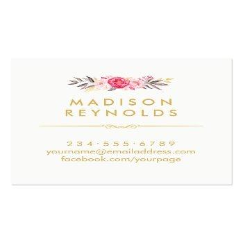 Small Elegant Chic Gold Frame Girly Pink Floral Personal Square Business Card Back View