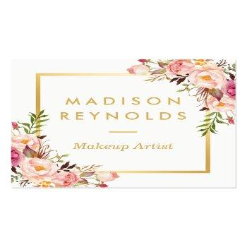 Small Elegant Chic Gold Frame Girly Pink Floral Personal Square Business Card Front View