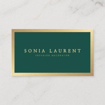 elegant chic gold metallic forest green minimalist business card