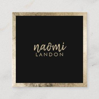 elegant chic gold modern square minimalist black square business card