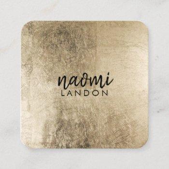 elegant chic gold modern square minimalist black square business card