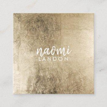 elegant chic gold modern square minimalist white square business card