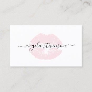 elegant chick pastel pink lips logo makeup artist business card