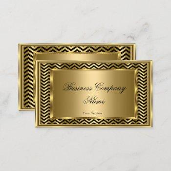 elegant classy gold black frame chevron stripe business card