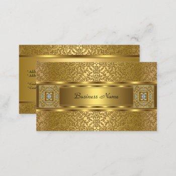 elegant classy gold damask embossed look business card