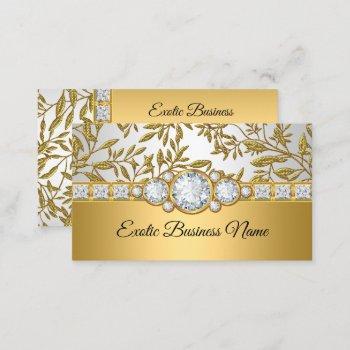 elegant classy gold damask floral white business card