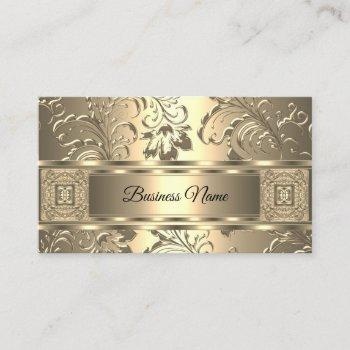 elegant classy sepia cream damask floral business card