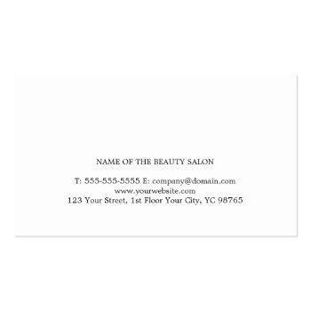 Small Elegant Clean White Scissors Hair Stylist Business Card Back View
