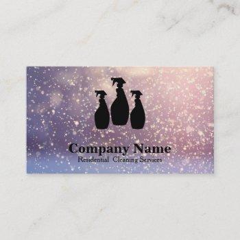 elegant cleaning service glitter bokeh business card