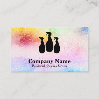 elegant cleaning service glitter watercolor business card