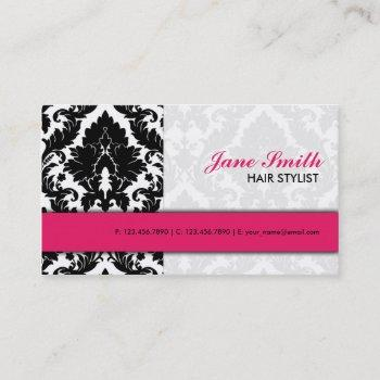 elegant damask floral pattern modern stylish pink business card