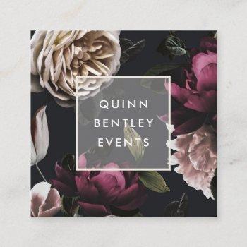 elegant dark floral on black | square business card