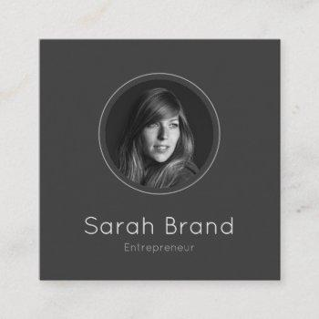 elegant dark personal photo square business card