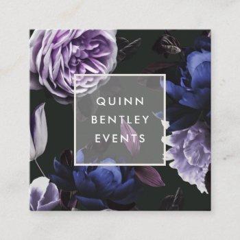 elegant dark violet floral square business card