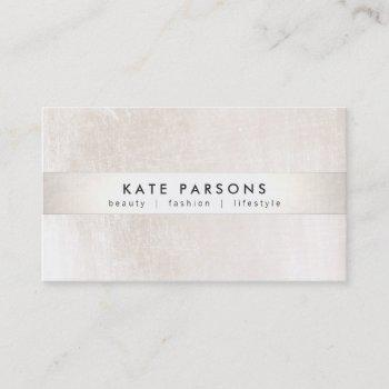 elegant designer white marble and silver stripe business card