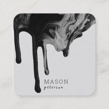 elegant dripping marble paint seamless |black gray square business card