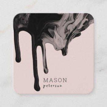 elegant dripping marble paint seamless |blush pink square business card