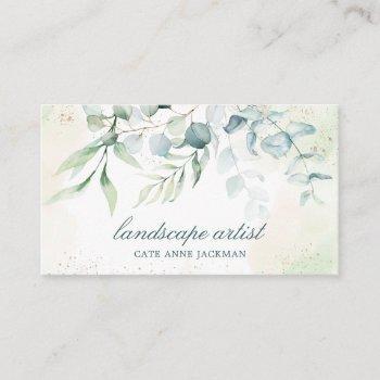 elegant eucalyptus greenery landscape business card