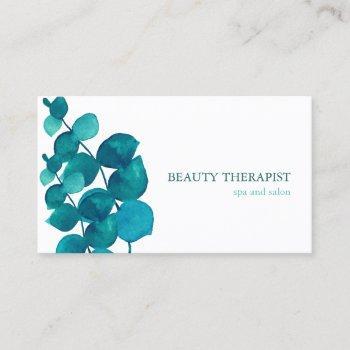 elegant eucalyptus leaves business card