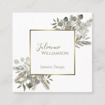 elegant eucalyptus & pine sage green & gold square business card
