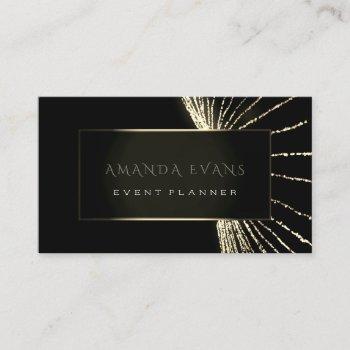 elegant event planner black framed golden lights business card