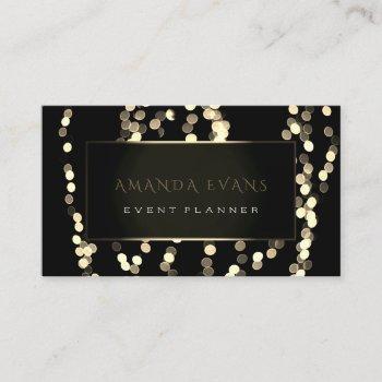 elegant event planner black white frame spark gold business card