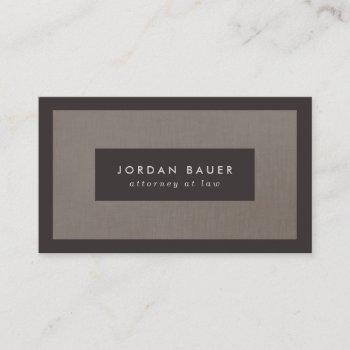 elegant faux brown linen professional business card