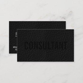 elegant faux chic black leather professional plain business card