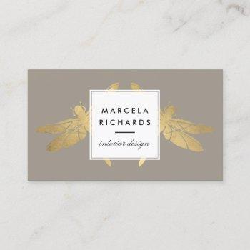 elegant faux gold dragonfly duo on taupe business card