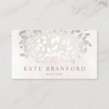 elegant faux silver leaves on white marble business card