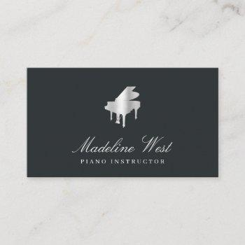 elegant faux silver piano teacher or pianist business card