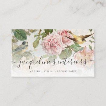 elegant floral blush pink vintage birds roses busi business card