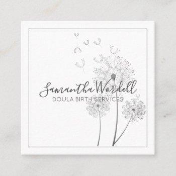 elegant floral illustration doula or midwife square business card