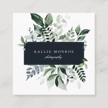 elegant forest foliage frame square business card