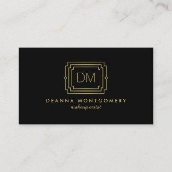 elegant glamour art deco monogram black/gold business card