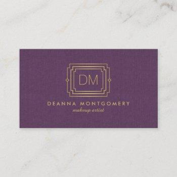elegant glamour art deco monogram purple/gold business card