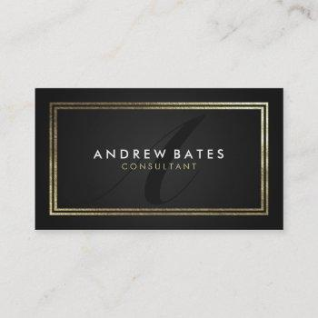 elegant gold black professional modern monogram business card