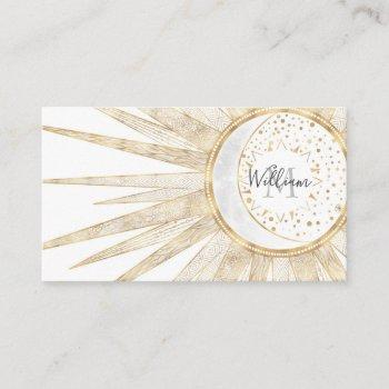 elegant gold doodles sun moon mandala design business card
