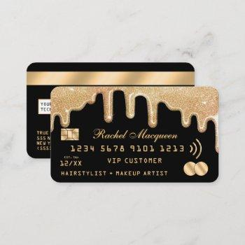 elegant gold glitter drips black credit business card