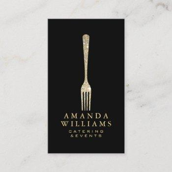 elegant gold glitter fork catering logo black ii business card