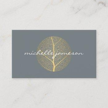 elegant gold leaf logo on slate business card