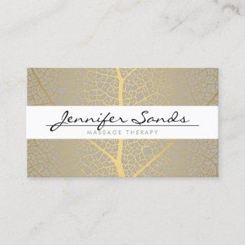elegant gold leaf tree pattern business card