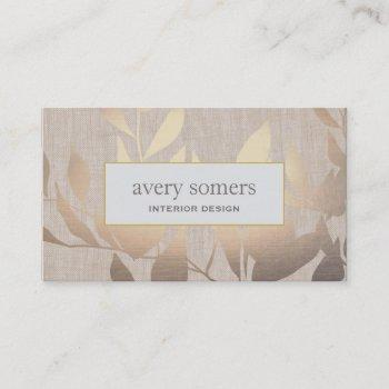elegant gold leaves modern interior design beige business card