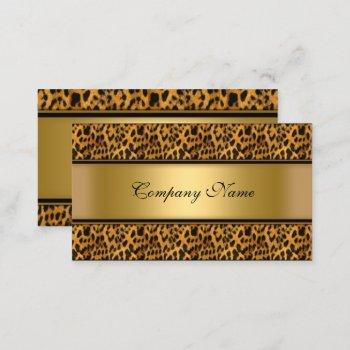 elegant gold leopard animal print business card