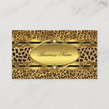 elegant gold leopard print business card
