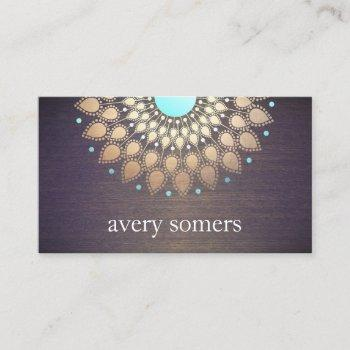 elegant gold  lotus mandala wood yoga instructor business card